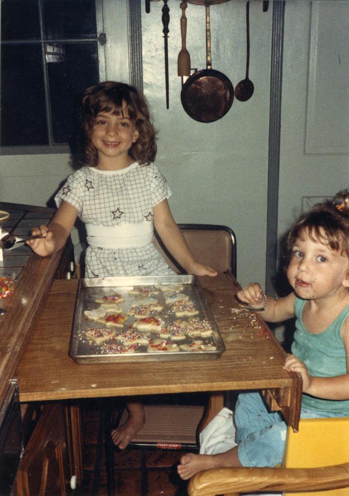 My sister & I baking cookies