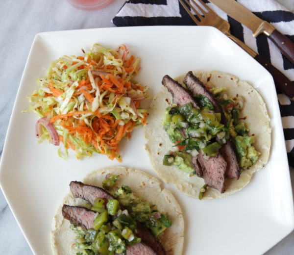 Flank Steak Tacos with Roasted Pepper Relish